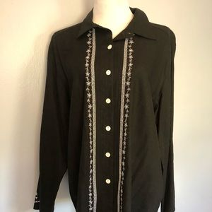 NWT Black button-up blouse with pretty stitching